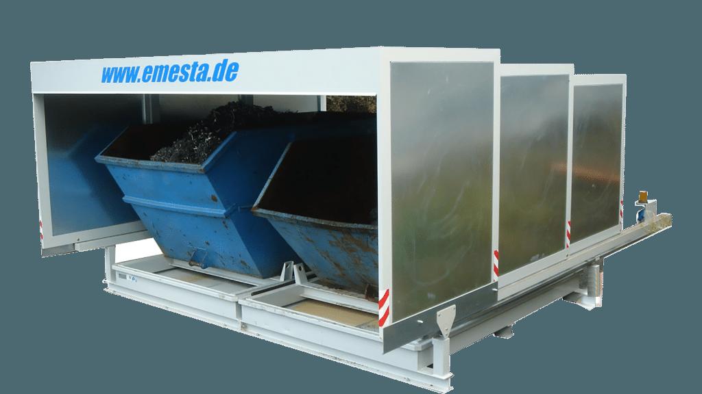Containerstellplatz für zwei Container mit Auffangwanne und Dach