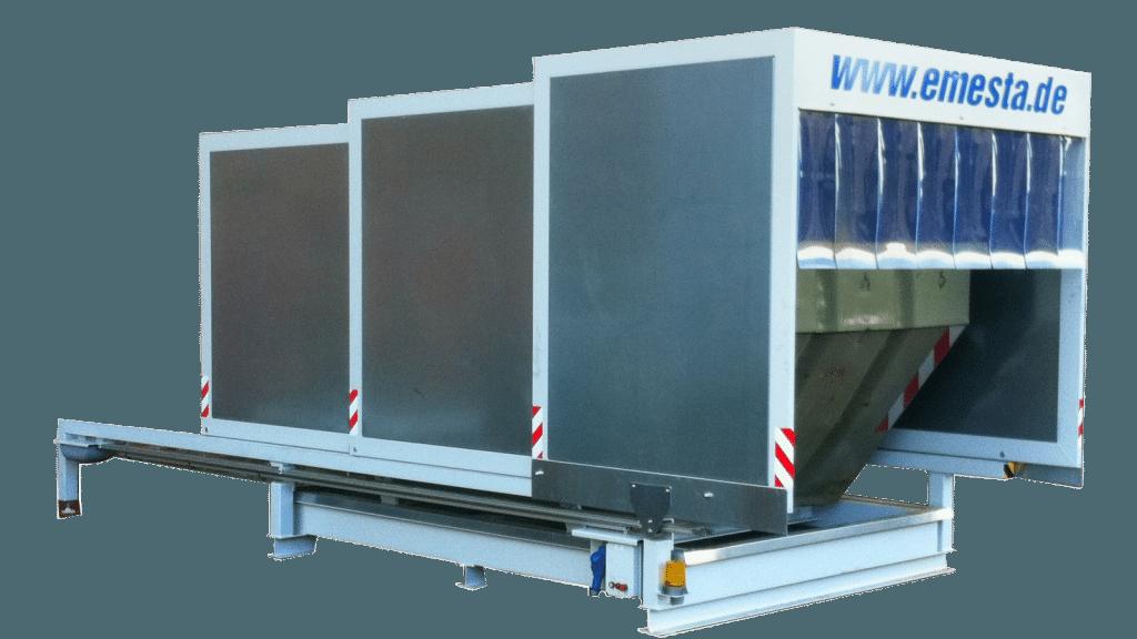Containerstellplatz für Absetzcontainer mit Dach und Auffangwanne