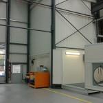 mobiler Waschcontainer Industrie mit offem Tor und Dach