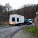 CLINER Waschplatz auf dem LKW Transport zum Kunden abfahrt