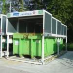 Containerstellplatz Abroller - Dach geschlossen - Frontansicht