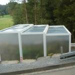 Seitenansicht geschlossenes Dach Containerstellplatz
