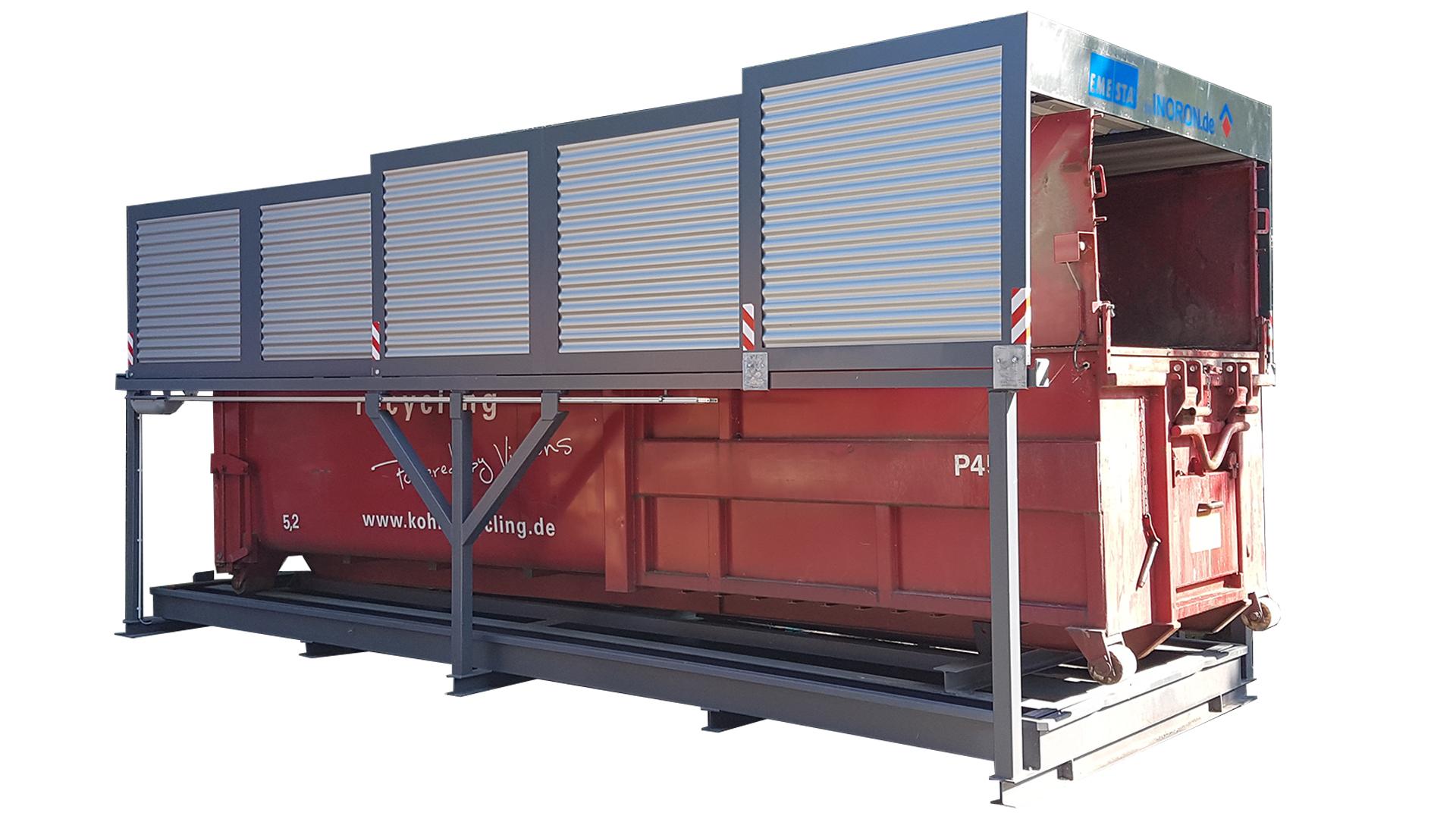 Containerstellplatz für Abroller mit geschlossenem Dach und Auffangwanne