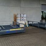Monatge von Containerstellplatzsystem zu sehen sind die Auffangwannen bzw. Containerwanne