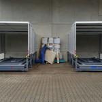 Containerstellplatz mit Dach und Auffangwanne - Dach geschlossen - Frontansicht