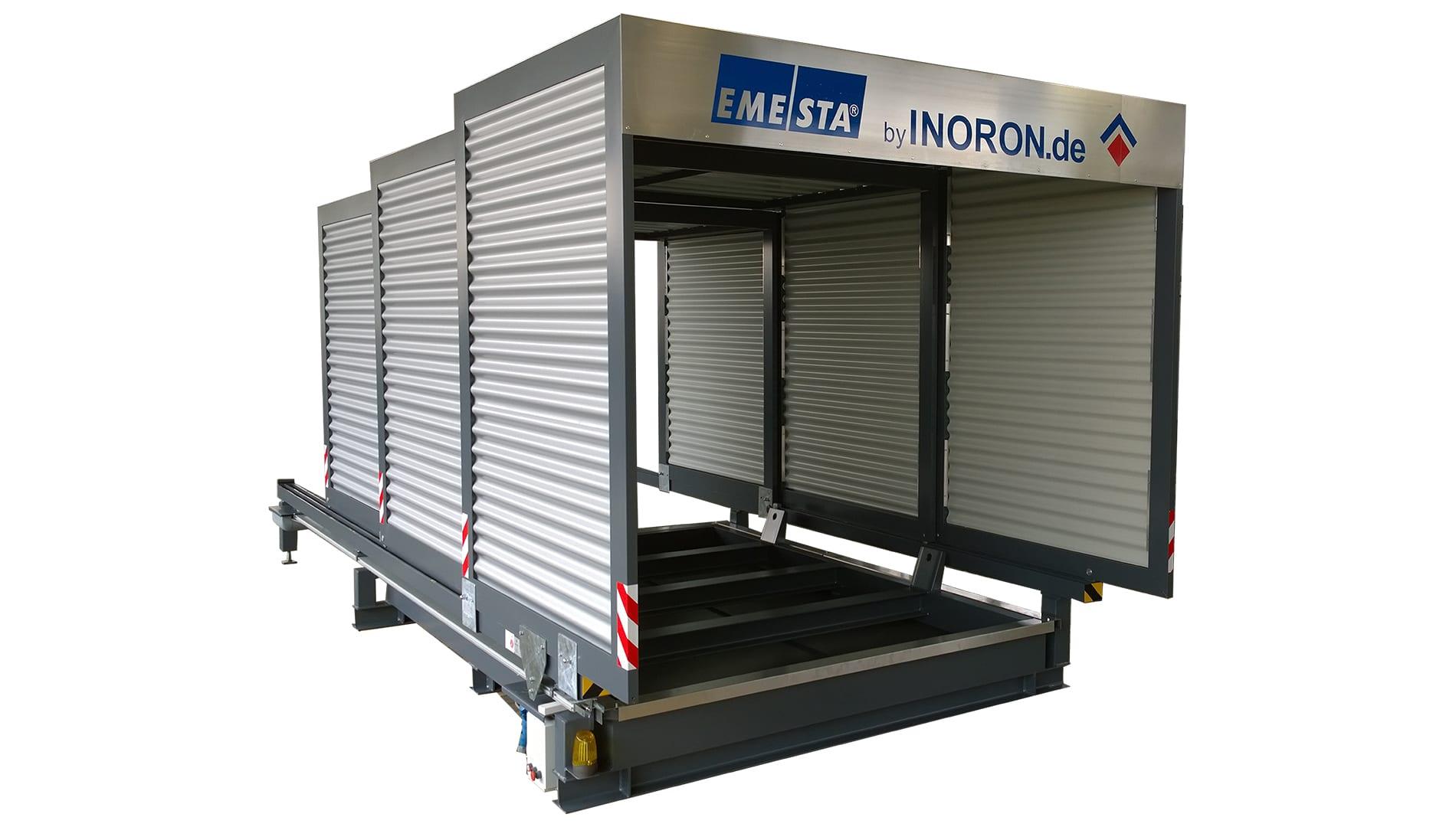 Containerstellplatz EMESTA Dach zu schrägansicht
