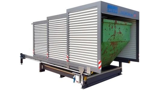 Containerstellplatz EMESTA mit Dach als Abdeckung und Wannensystem