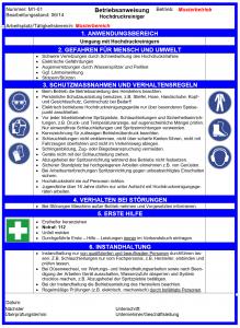 Betriebsanweisung zum Arbeitsschutz Hochdruckreiniger Muster