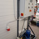 Technikbereich des mobilen Waschplatz zum Anschluss Hochdruckreiniger