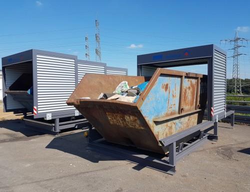 Containerüberdachung schütz Mulden vor Regen