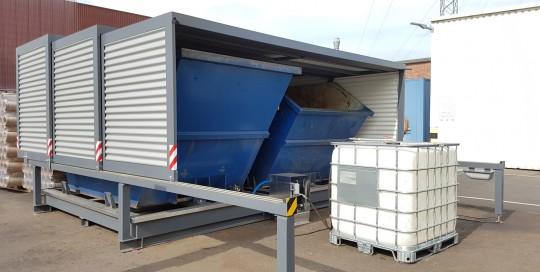 EMESTA Containerstellplatz Duo Modell mit IBC und Pumpe zur Emulsions Rückgewinnung