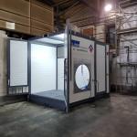 Mobiler Waschplatz Seitenansicht Tür offen Dach geschlossen