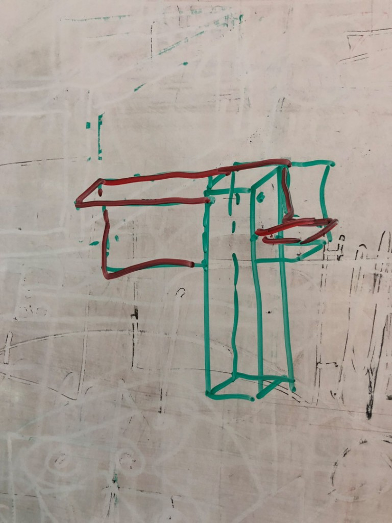 Skizze am Whiteboard vom neuen Steuerungsblech