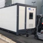 Transport des mobilen waschplatz